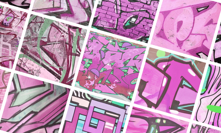 A set of many small fragments of graffiti drawings. Street art abstract background collage in purple colors