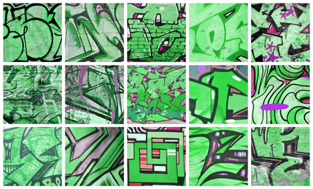 A set of many small fragments of graffiti drawings. Street art abstract background collage in green colors