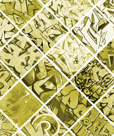 A set of many small fragments of graffiti drawings. Street art abstract background collage in yellow colors