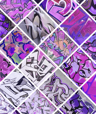 A set of many small fragments of graffiti drawings. Street art abstract background collage in violet colors