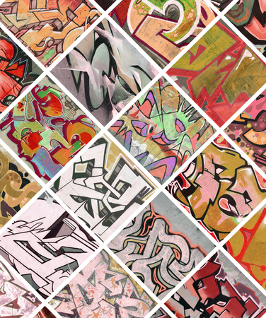 A set of many small fragments of graffiti drawings. Street art abstract background collage in red colors Stockfoto