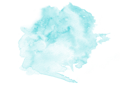 Hand drawn light blue watercolor shape for your design. Creative painted background, hand made decoration