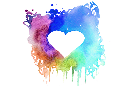 Background image of abstract watercolor spots forming a random shape of different colors with space for text in the form of a heart Stock Photo