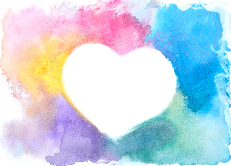 Background image of abstract watercolor spots forming a random shape of different colors with space for text in the form of a heart Stok Fotoğraf