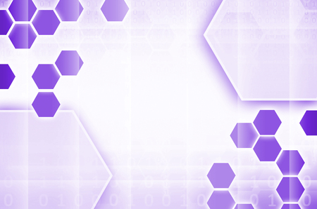 Abstract technological background consisting of a set of hexagons and other geometric shapes in violet color