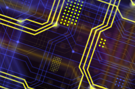 An abstract technological background consisting of a multitude of luminous guiding lines and dots forming a kind of physical motherboard. Yellow and blue color