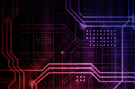An abstract technological background consisting of a multitude of luminous guiding lines and dots forming a kind of physical motherboard. Red and violet color