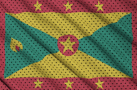 Grenada flag printed on a polyester nylon sportswear mesh fabric with some folds