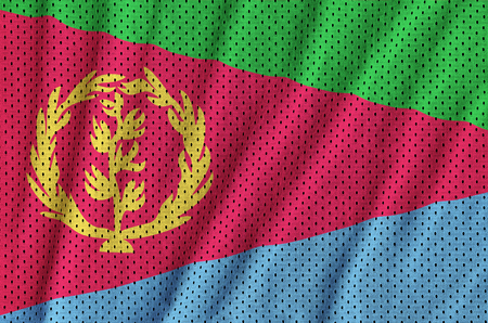Eritrea flag printed on a polyester nylon sportswear mesh fabric with some folds