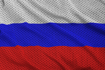 Russia flag printed on a polyester nylon sportswear mesh fabric with some folds