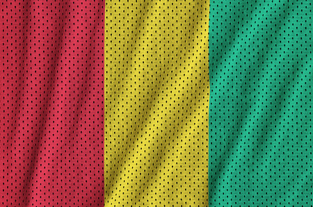 Guinea flag printed on a polyester nylon sportswear mesh fabric with some folds
