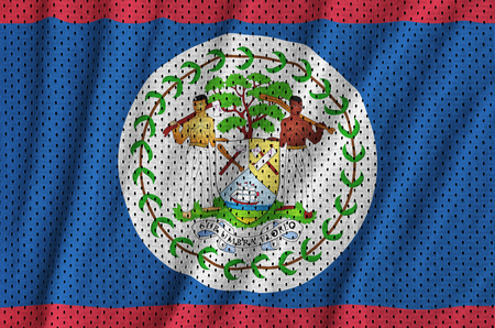 Belize flag printed on a polyester nylon sportswear mesh fabric with some folds