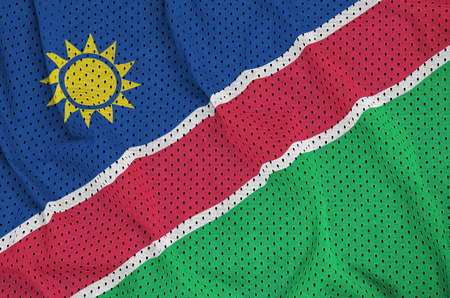 Namibia flag printed on a polyester nylon sportswear mesh fabric with some folds