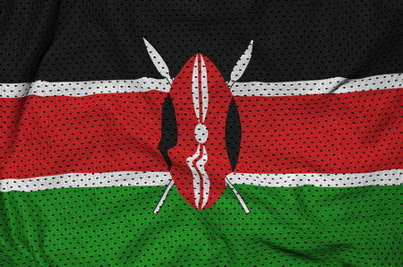 Kenya flag printed on a polyester nylon sportswear mesh fabric with some folds