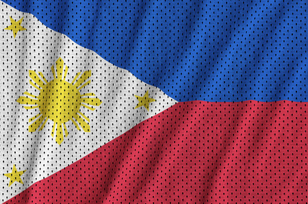 Philippines flag printed on a polyester nylon sportswear mesh fabric with some folds