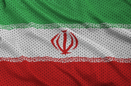 Iran flag printed on a polyester nylon sportswear mesh fabric with some folds