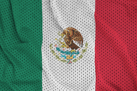 Mexico flag printed on a polyester nylon sportswear mesh fabric with some folds