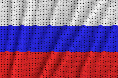 Russia flag printed on a polyester nylon sportswear mesh fabric with some folds Stok Fotoğraf - 100829443