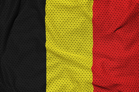 Belgium flag printed on a polyester nylon sportswear mesh fabric with some folds