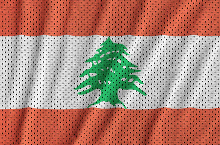 Lebanon flag printed on a polyester nylon sportswear mesh fabric with some folds
