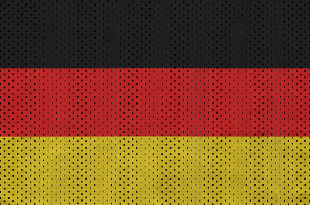 Germany flag printed on a polyester nylon sportswear mesh fabric with some folds