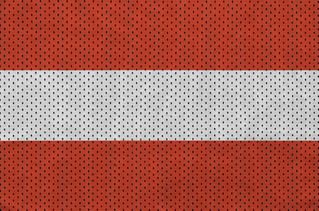 Austria flag printed on a polyester nylon sportswear mesh fabric with some folds
