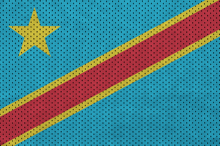 Democratic Republic of the Congo flag printed on a polyester nylon sportswear mesh fabric with some folds