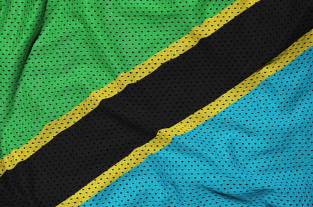 Tanzania flag printed on a polyester nylon sportswear mesh fabric with some folds