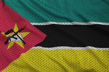 Mozambique flag printed on a polyester nylon sportswear mesh fabric with some folds