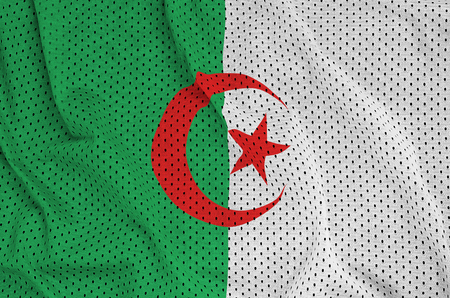 Algeria flag printed on a polyester nylon sportswear mesh fabric with some folds
