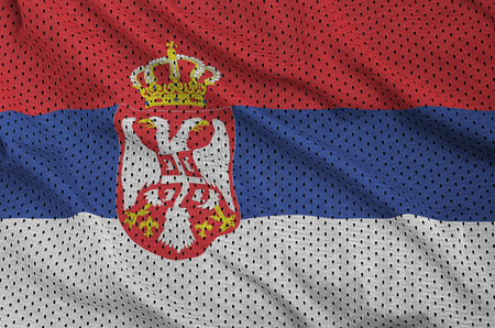 Serbia flag printed on a polyester nylon sportswear mesh fabric with some folds