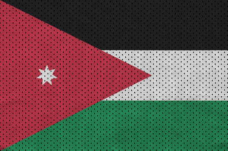 Jordan flag printed on a polyester nylon sportswear mesh fabric with some folds