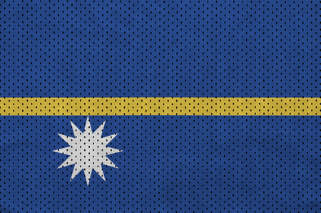 Nauru flag printed on a polyester nylon sportswear mesh fabric with some folds 免版税图像