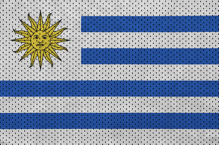 Uruguay flag printed on a polyester nylon sportswear mesh fabric with some folds