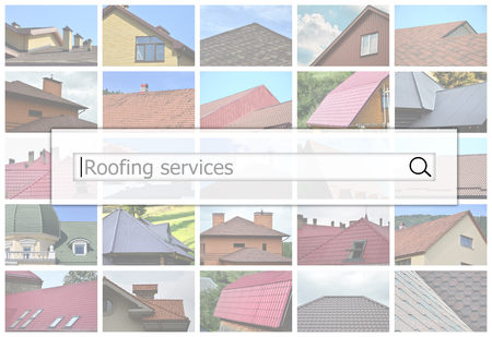 Visualization of the search bar on the background of a collage of many pictures with fragments of various types of roofing. Roofing services Banco de Imagens