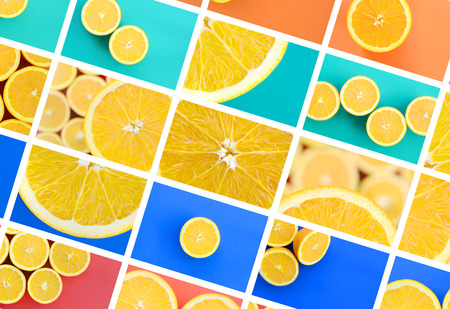 A collage of many pictures with juicy oranges. Set of images with fruits on backgrounds of different colors