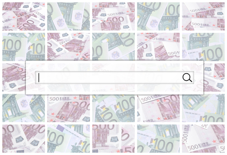 The search string is located on top of collage of many images of hundreds of dollars and euro bills lying in a pile 版權商用圖片