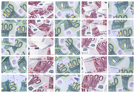 A collage of many images of hundreds of dollars and euro bills lying in a pile