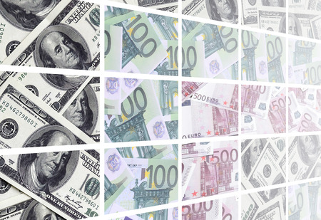 A collage of many images of euro banknotes in denominations of 100 and 500 euros lying in the heap Stock Photo