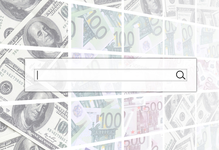 The search string is located on top of collage of many images of euro banknotes in denominations of 100 and 500 euros lying in the heap Stock Photo