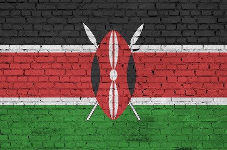 Kenya flag is painted onto an old brick wall Stock Photo