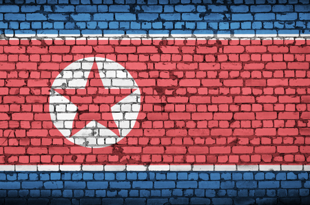 North Korea flag is painted onto an old brick wall