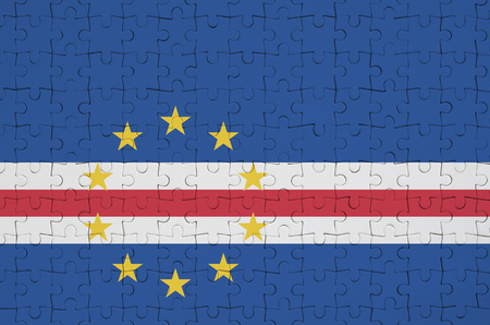 Cabo verde flag  is depicted on a folded puzzle