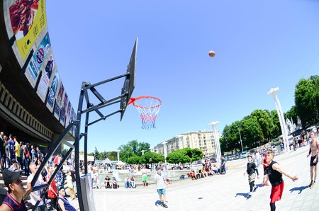KHARKIV, UKRAINE - 27 MAY, 2018: Sports teams play streetball in the open air during the annual festival of street cultures.