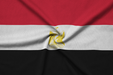 Egypt flag  is depicted on a sports cloth fabric with many folds. Sport team waving banner Banco de Imagens