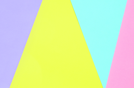 Texture background of fashion pastel colors. Pink, violet, yellow and blue geometric pattern papers. minimal abstract.
