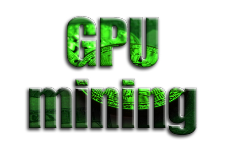 GPU mining. The inscription has a texture of the photography, which depicts several bitcoins on a dollar bills. Stock Photo