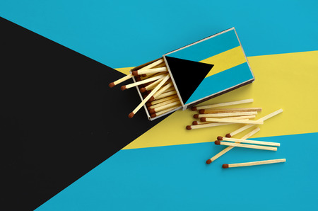 Bahamas flag  is shown on an open matchbox, from which several matches fall and lies on a large flag. Stock Photo
