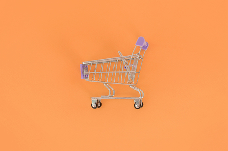 Shopping addiction, shopping lover or shopaholic concept. Small empty shopping cart lies on a pastel colored paper background. Flat lay minimal composition, top view. 스톡 콘텐츠 - 107703048