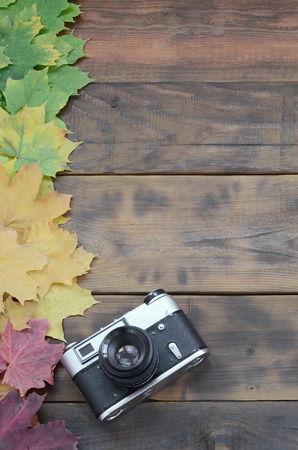 The old camera among a set of yellowing fallen autumn leaves on a background surface of natural wooden boards of dark brown color